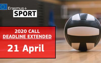New Erasmus+ Sport Deadline: 21 April 2020